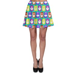Colorful Whimsical Owl Pattern Skater Skirts