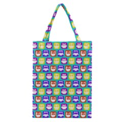 Colorful Whimsical Owl Pattern Classic Tote Bags