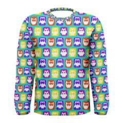 Colorful Whimsical Owl Pattern Men s Long Sleeve T Shirts