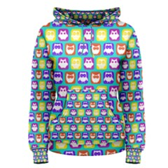 Colorful Whimsical Owl Pattern Women s Pullover Hoodies