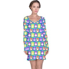 Colorful Whimsical Owl Pattern Long Sleeve Nightdresses