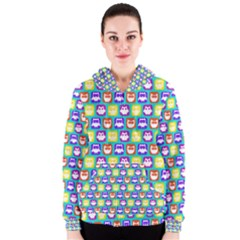 Colorful Whimsical Owl Pattern Women s Zipper Hoodies