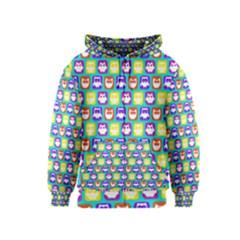 Colorful Whimsical Owl Pattern Kids Zipper Hoodies