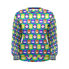 Colorful Whimsical Owl Pattern Women s Sweatshirts