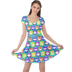 Colorful Whimsical Owl Pattern Cap Sleeve Dresses