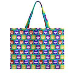 Colorful Whimsical Owl Pattern Zipper Tiny Tote Bags