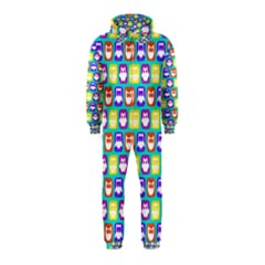 Colorful Whimsical Owl Pattern Hooded Jumpsuit (kids)