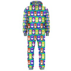 Colorful Whimsical Owl Pattern Hooded Jumpsuit (Men)