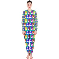 Colorful Whimsical Owl Pattern OnePiece Jumpsuit (Ladies)