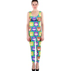 Colorful Whimsical Owl Pattern OnePiece Catsuits