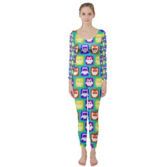 Colorful Whimsical Owl Pattern Long Sleeve Catsuit