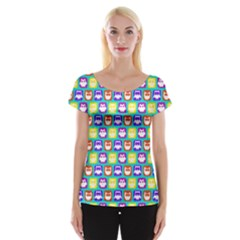Colorful Whimsical Owl Pattern Women s Cap Sleeve Top