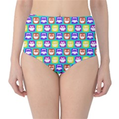 Colorful Whimsical Owl Pattern High-Waist Bikini Bottoms