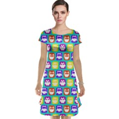 Colorful Whimsical Owl Pattern Cap Sleeve Nightdresses