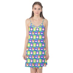 Colorful Whimsical Owl Pattern Camis Nightgown