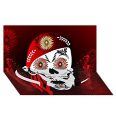 Funny Happy Skull Twin Heart Bottom 3D Greeting Card (8x4)
