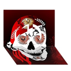 Funny Happy Skull Peace Sign 3D Greeting Card (7x5)