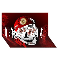 Funny Happy Skull BEST SIS 3D Greeting Card (8x4)