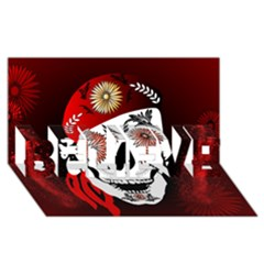 Funny Happy Skull BELIEVE 3D Greeting Card (8x4)