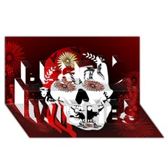 Funny Happy Skull Best Wish 3D Greeting Card (8x4)