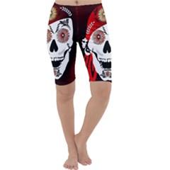 Funny Happy Skull Cropped Leggings