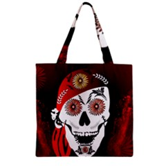 Funny Happy Skull Zipper Grocery Tote Bags
