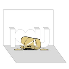 Peeping Fawn Great Dane With Undocked Ears I Love You 3D Greeting Card (7x5)