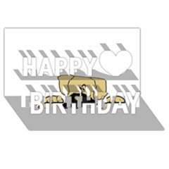 Peeping Fawn Great Dane With Undocked Ears Happy Birthday 3D Greeting Card (8x4)