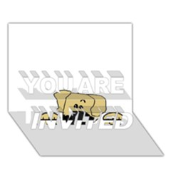Peeping Fawn Great Dane With Undocked Ears YOU ARE INVITED 3D Greeting Card (7x5)
