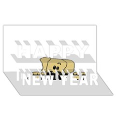 Peeping Fawn Great Dane With Undocked Ears Happy New Year 3D Greeting Card (8x4)