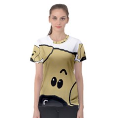 Peeping Fawn Great Dane With Undocked Ears Women s Sport Mesh Tees
