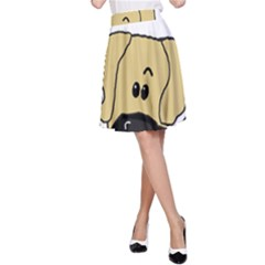 Peeping Fawn Great Dane With Undocked Ears A-Line Skirts