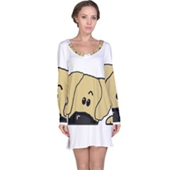 Peeping Fawn Great Dane With Undocked Ears Long Sleeve Nightdresses