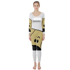 Peeping Fawn Great Dane With Undocked Ears Long Sleeve Catsuit