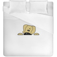 Peeping Fawn Great Dane With Undocked Ears Duvet Cover (King Size)