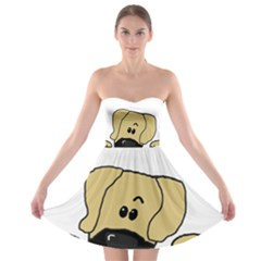 Peeping Fawn Great Dane With Undocked Ears Strapless Bra Top Dress