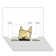 Peeping Fawn Great Dane With Docked Ears I Love You 3D Greeting Card (7x5)