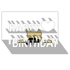 Peeping Fawn Great Dane With Docked Ears Happy Birthday 3D Greeting Card (8x4)