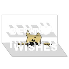 Peeping Fawn Great Dane With Docked Ears Best Wish 3D Greeting Card (8x4)