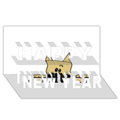 Peeping Fawn Great Dane With Docked Ears Happy New Year 3D Greeting Card (8x4)