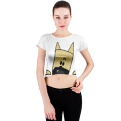 Peeping Fawn Great Dane With Docked Ears Crew Neck Crop Top