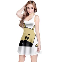 Peeping Fawn Great Dane With Docked Ears Reversible Sleeveless Dresses