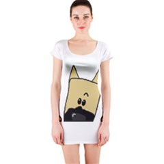Peeping Fawn Great Dane With Docked Ears Short Sleeve Bodycon Dresses