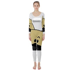 Peeping Fawn Great Dane With Docked Ears Long Sleeve Catsuit