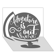 Adventure Is Out There Heart Bottom 3d Greeting Card (7x5)
