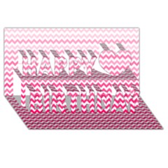 Pink Gradient Chevron Happy Birthday 3D Greeting Card (8x4)