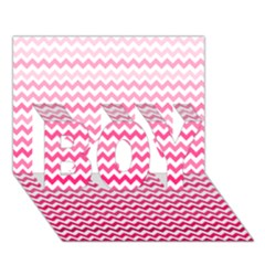 Pink Gradient Chevron Boy 3d Greeting Card (7x5)