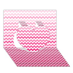 Pink Gradient Chevron Heart 3D Greeting Card (7x5)