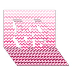 Pink Gradient Chevron LOVE 3D Greeting Card (7x5)