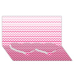 Pink Gradient Chevron Twin Heart Bottom 3d Greeting Card (8x4)